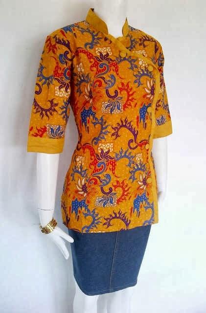 Baju kerja batik blus modern model baju batik kantor Gambar baju gamis batik wanita