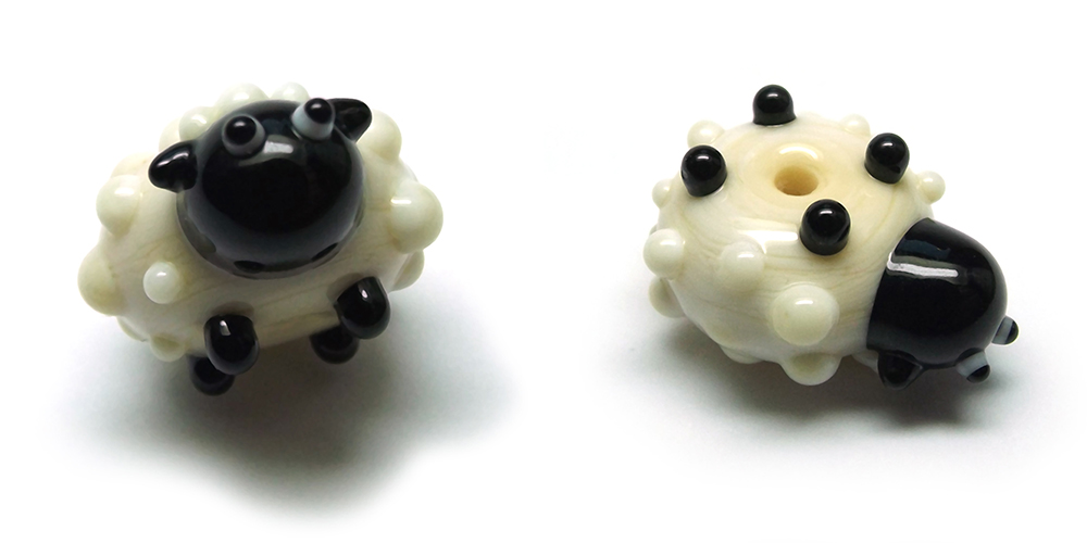 Lampwork glass sheep bead by Laura Sparling