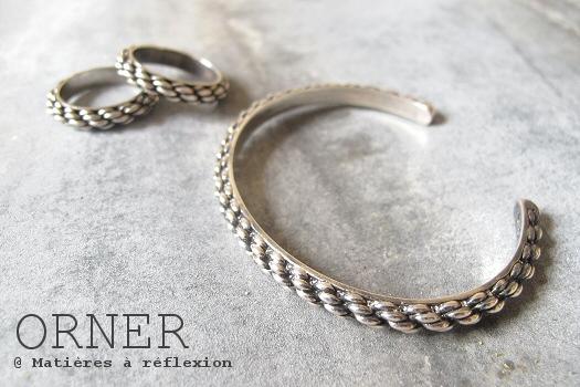 Bracelet homme laiton argenté Orner jonc cordage bijoux