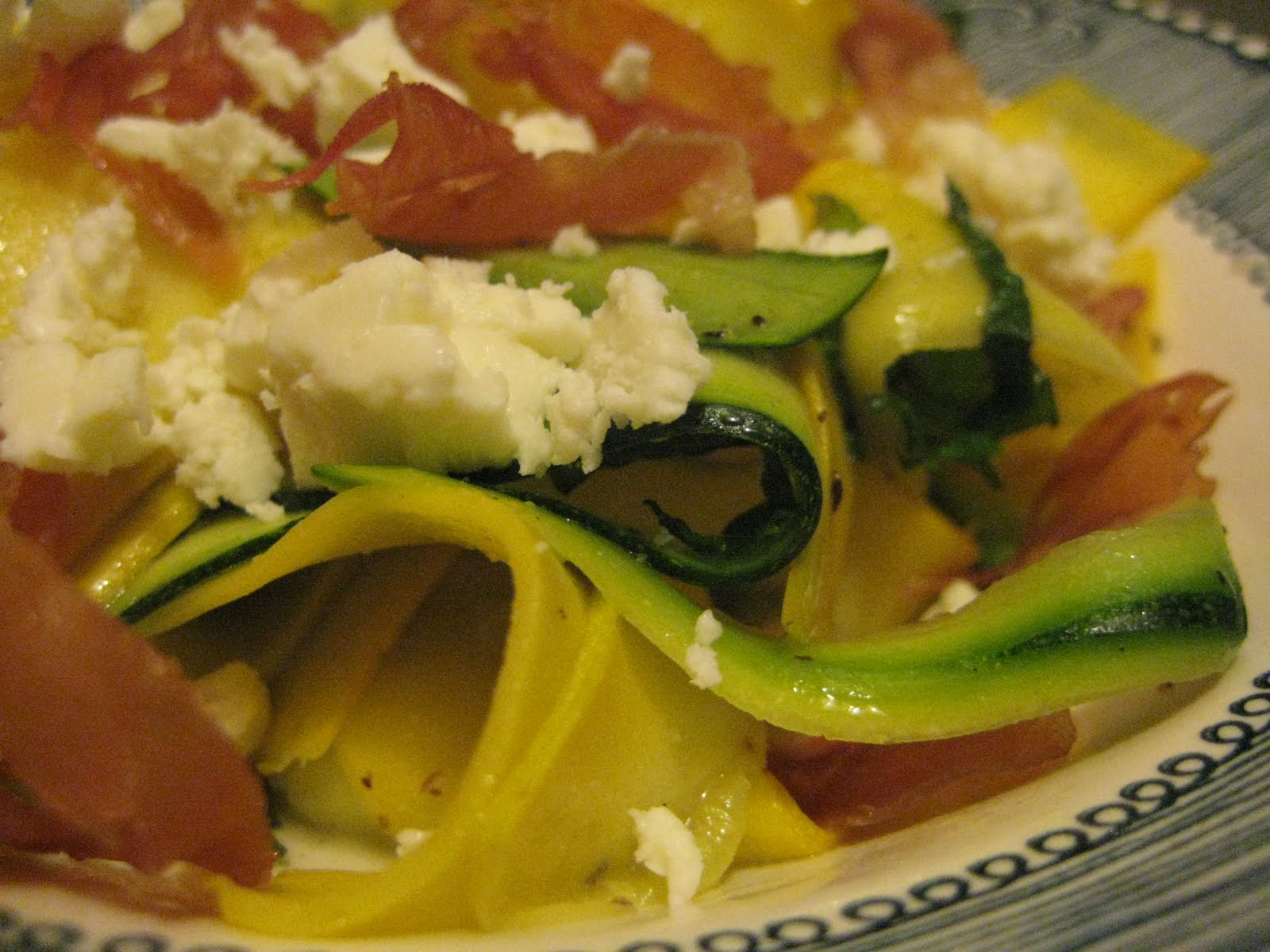 Bookcook: SHAVED SUMMER SQUASH SALAD WITH FETA AND PROSCIUTTO