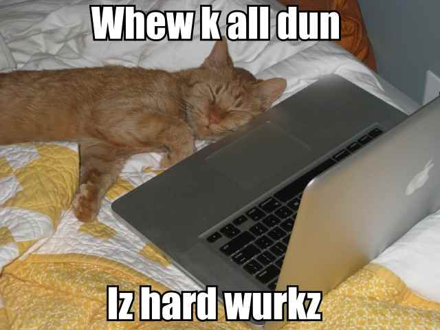 Whew k all dun.  Iz hard wurkz