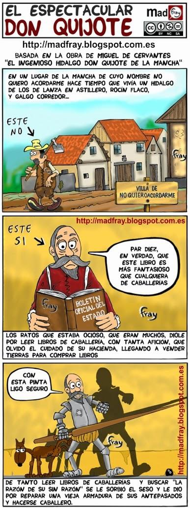 22 de abril, Día del libro, EL quijote en cómic, capitulo uno, cómic, viñetas,