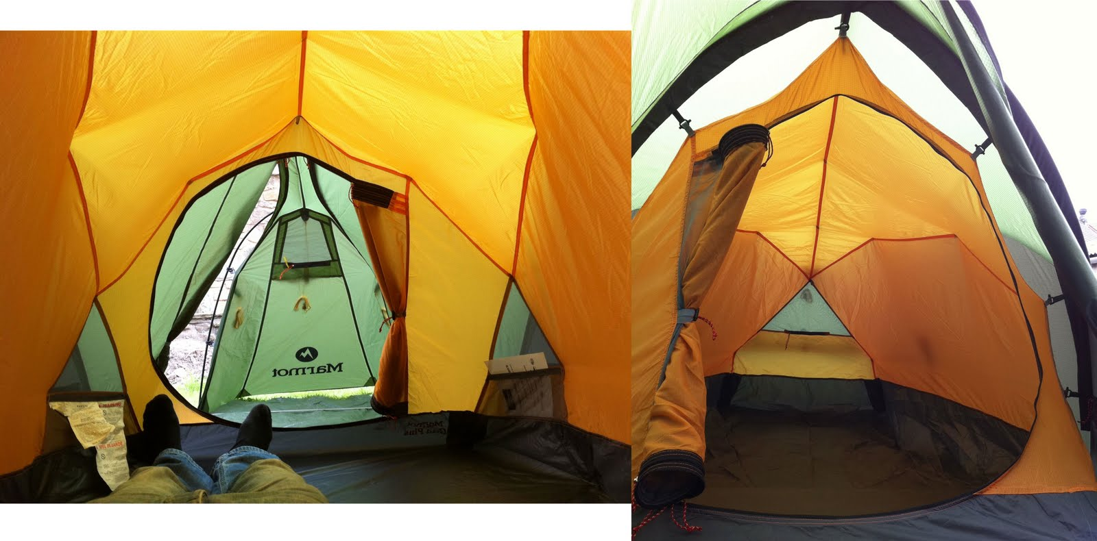 Left View from the foot end. Right View from inside the porch : marmot grid tent - memphite.com