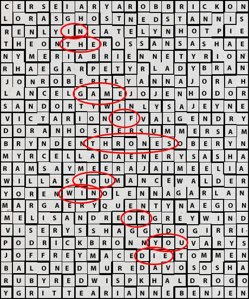 juego de tronos sopa de letras - Juego de Tronos en los siete reinos