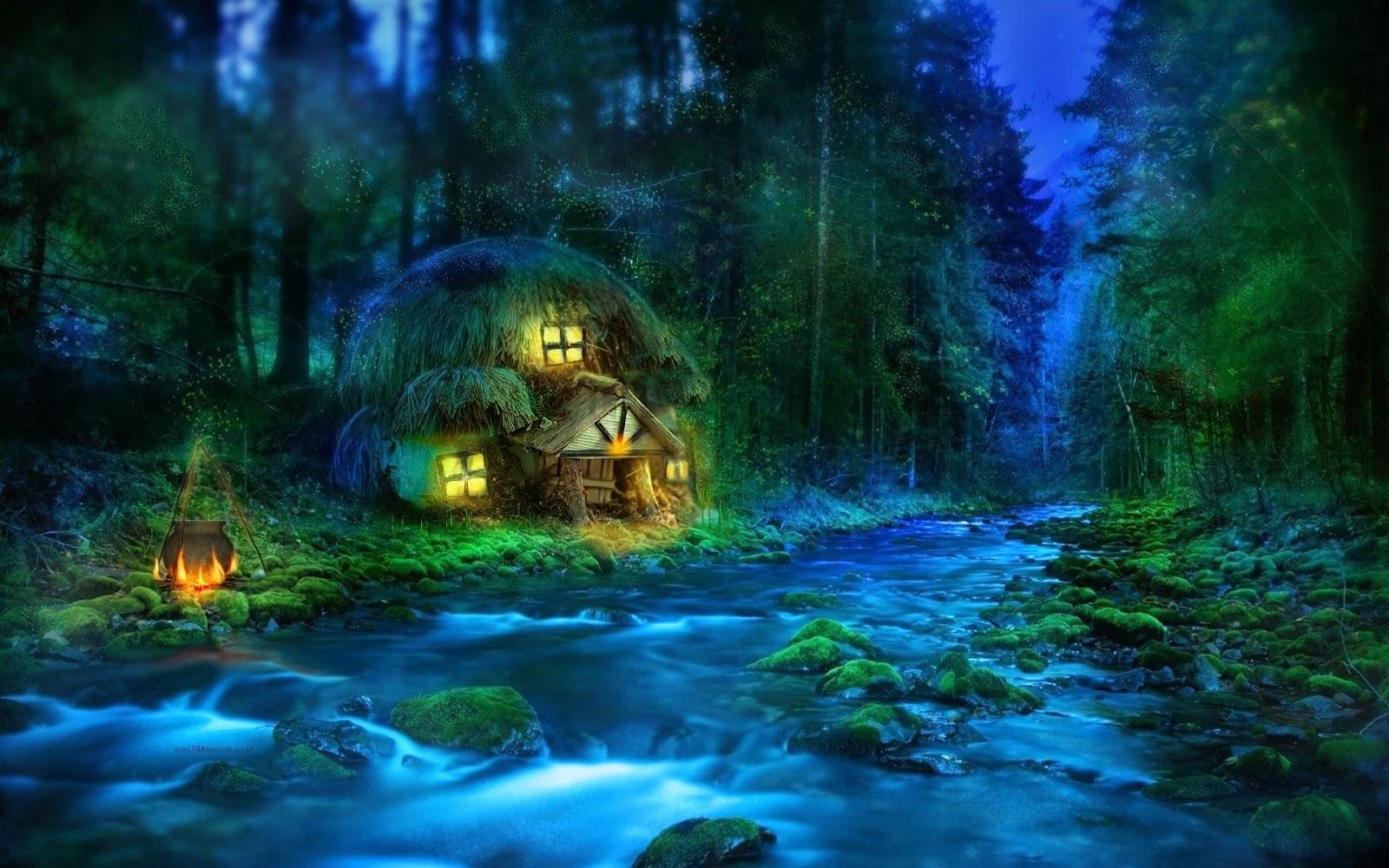 Fantasie wallpaper met rivier en huisje