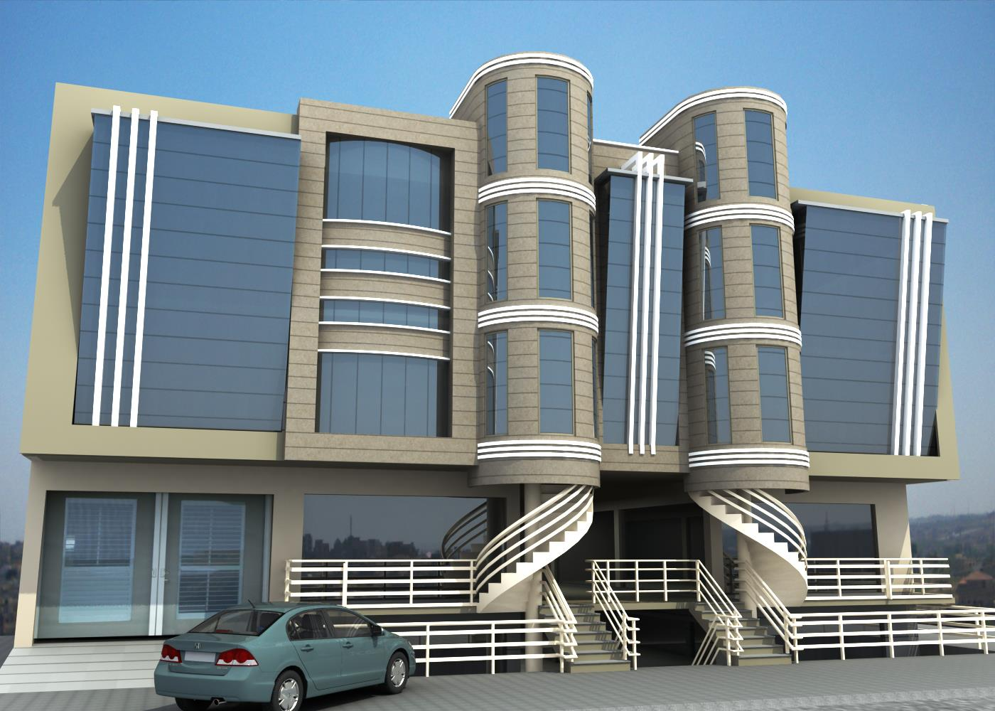 Front Elevation Of Commercial Building : D front elevation february