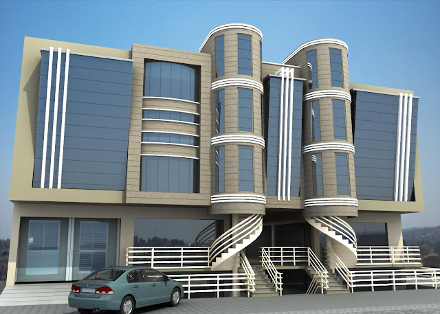Front Elevation Tower : D front elevation of commercial