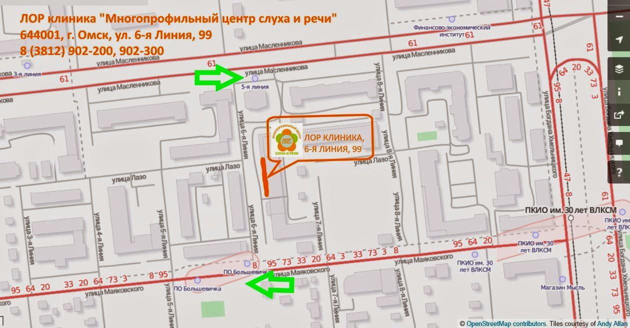 """Адрес ЛОР клиники """"Многопрофильный центр слуха и речи"""" в Омске"""
