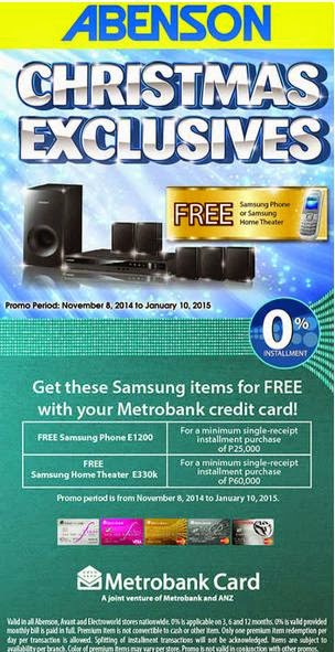 Metrobank Credit Card Promo, Abenson Christmas Exclusives