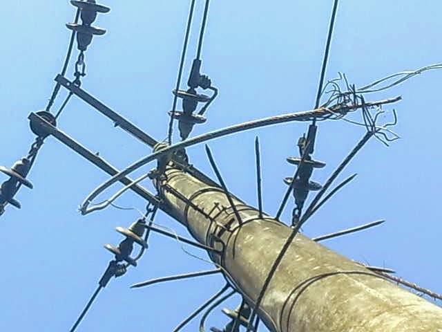 sisa kabel jaringan pln yang di curi