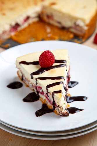 Raspberry and Dark Chocolate Cheesecake on Closet Cooking