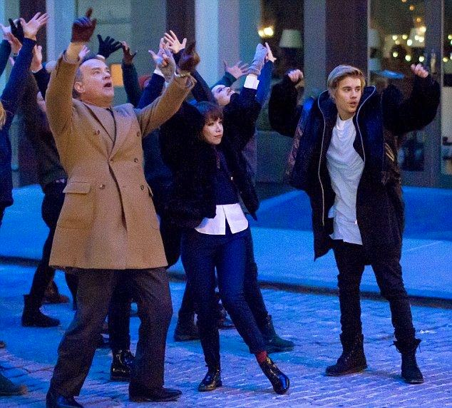 Tom Hanks and Justin Bieber were unveiled as the star of Fiat Car Advert at New York City on Monday, February 16, 2015 with Carly Rae Japsen.