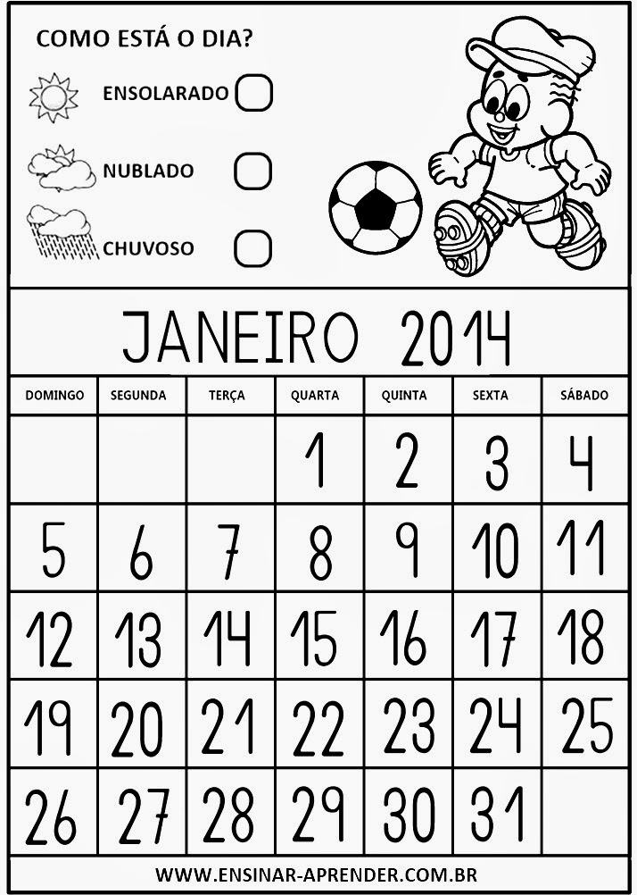 Minhas Atividades Pedagógicas: Calendário 2014 Turma da