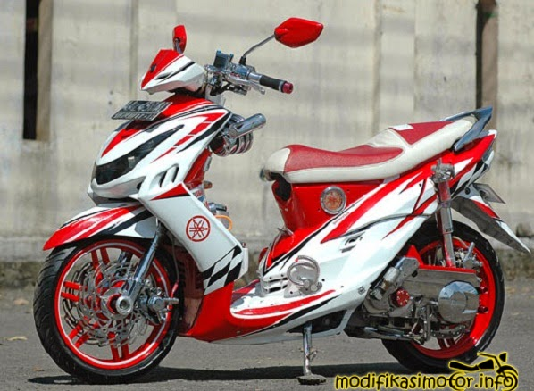 modifikasi motor mio sporty warna putih merah