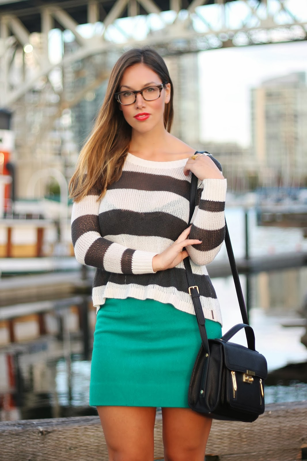 to vogue or bust, vancouver style blog, vancouver fashion blog, vancouver fashion, canadian fashion blog, alexandra grant, fall style, fall fashion, nautical stripes, billabong sweater, j.crew skirt, h&m heels, phillip lim for target bag, clearly contacts glasses, brooklyn designs ring