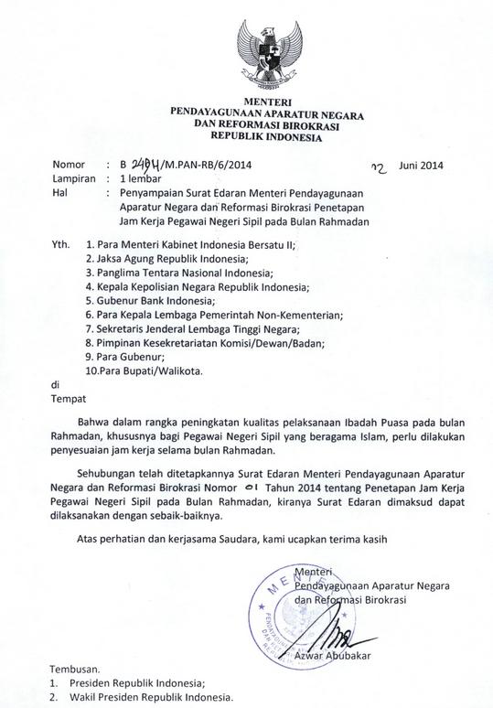Peraturan Pemerintah Mengenai Jam Kerja PNS Ramadhan 2014 / 1435 H