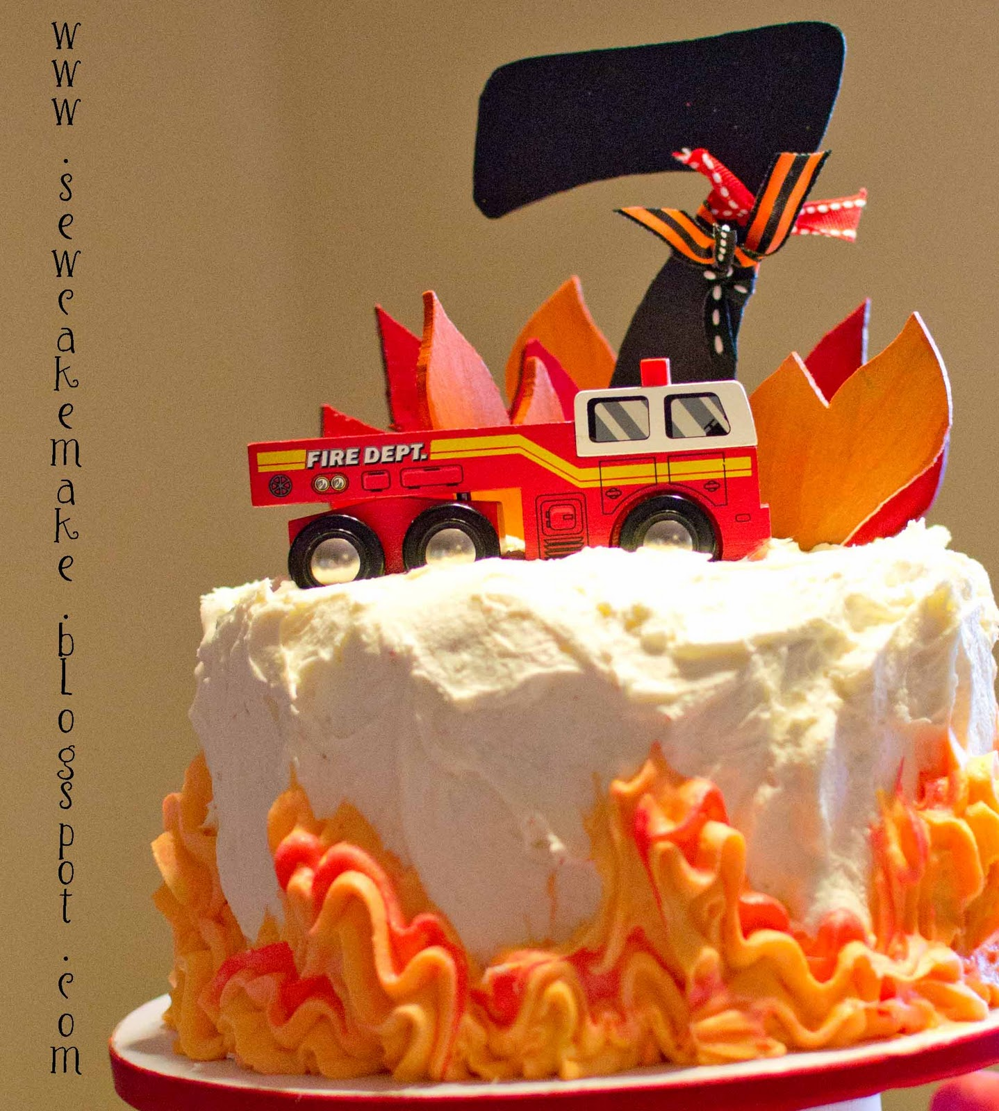 The Sew*er, The Caker, The CopyCat Maker: Fire Truck Birthday Cake