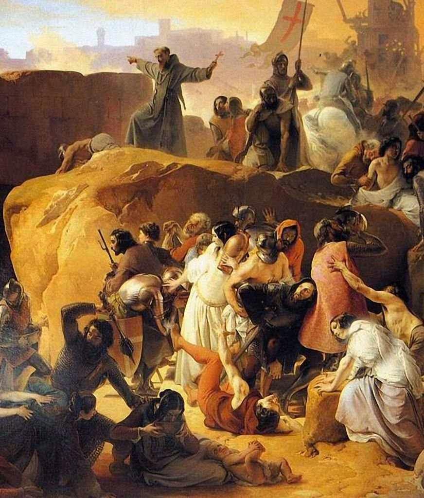 Cruzados na tomada de Jerusalem.