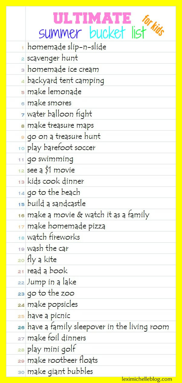 ultimate summer bucket list for kids