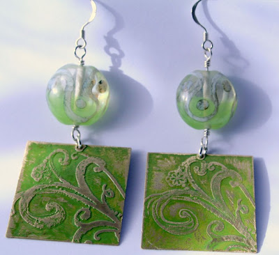 Terpsichore: brass, sterling silver, lampwork, etching, OOAK earrings :: All Pretty Things