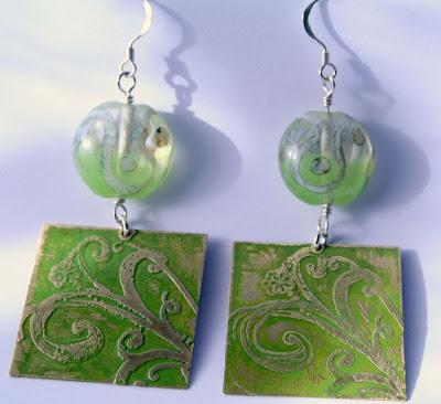 Terpsichore: brass, sterling silver, lampwork, etching, OOAK earrings :: All Pretty Things