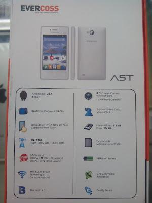 Harga dan Spesifikasi Smartphone Evercoss A5T, HP Android 500 Ribuan Terbaru