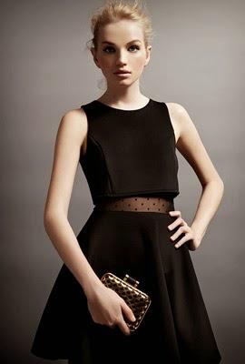vestido negro con transparencia Suiteblanco