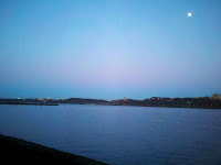 Moon over Hudson River in the evening as seen from Shore Trail, Part of Carpenter's Loop I in Palisades Interstate Park, Fort Lee, NJ