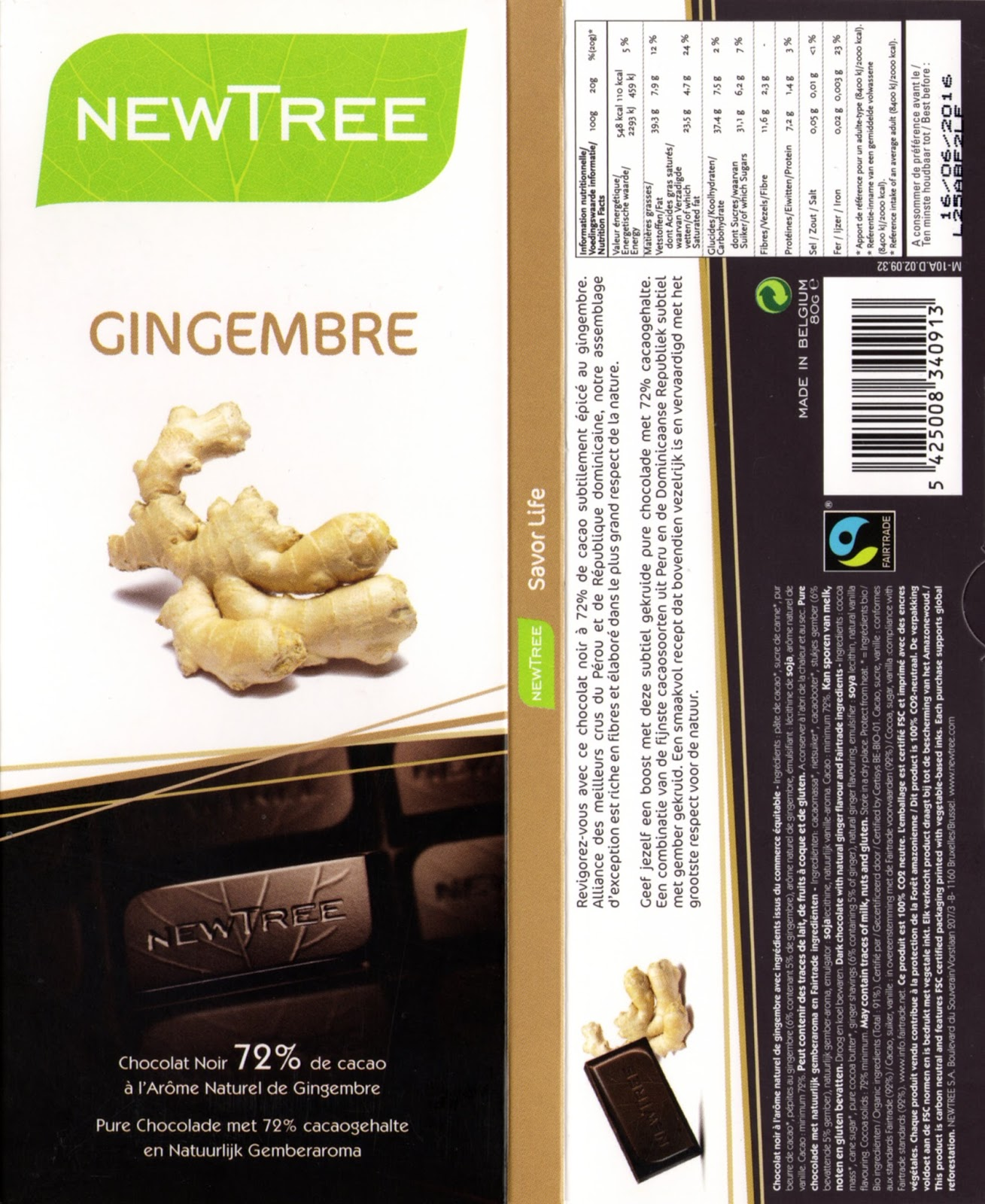 tablette de chocolat noir gourmand newtree gingembre 72