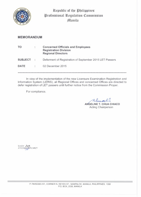 PRC postponed September 2015 LET passers registration
