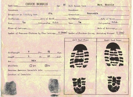 WholeLottaSomethin\': The Chuck Norris Birth Certificate