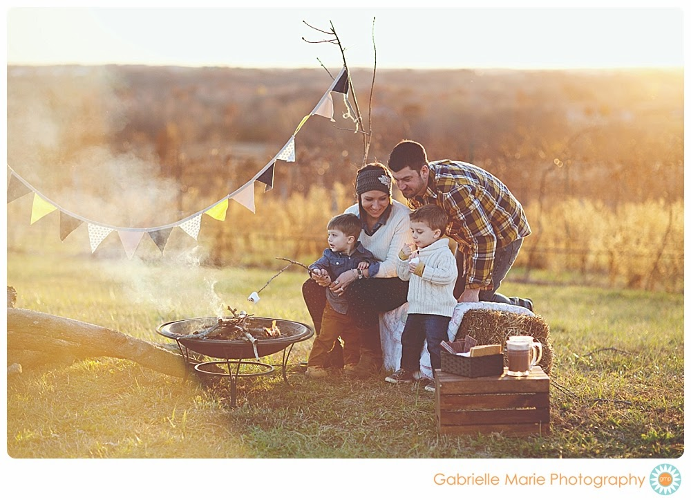 Young family with two boys sit around a fire pit making s'mores in the country - Best of 2013 Families, St. Louis Missouri