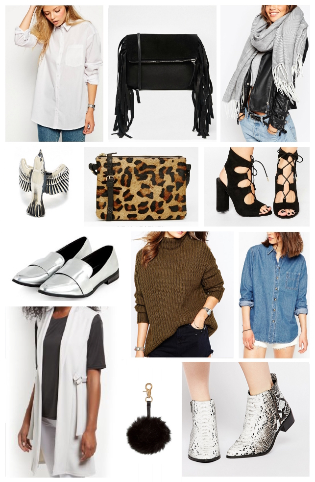 Autumn Winter Wishlist featuring ASOS, New Look, The Great Frog, 70's style, snake print boots, silver shoes, animal print,