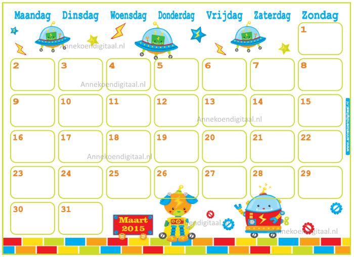 kalender voor kinderen, kalender om zelf te printen, maart 2015, 2015 kalender, schattige kalender, kalender voor jongens, kalender met robots