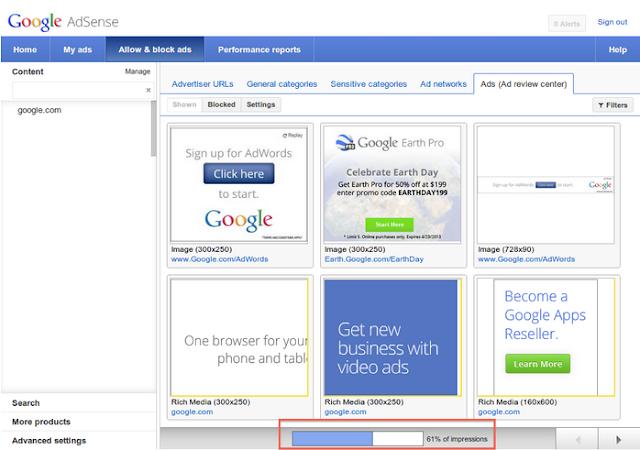 kontrol transparansi google adsense untuk mengontrol iklan adsense di website atau blog
