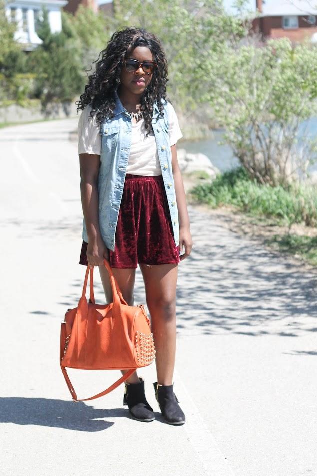 Vero Moda Denim Vest, Joe Fresh Velvet Skirt, Vero Moda necklace, Shoedazzle shoes