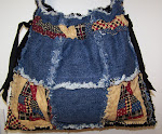 Denim Drawstring Rag Tote Bag Purse Patchwork Cats