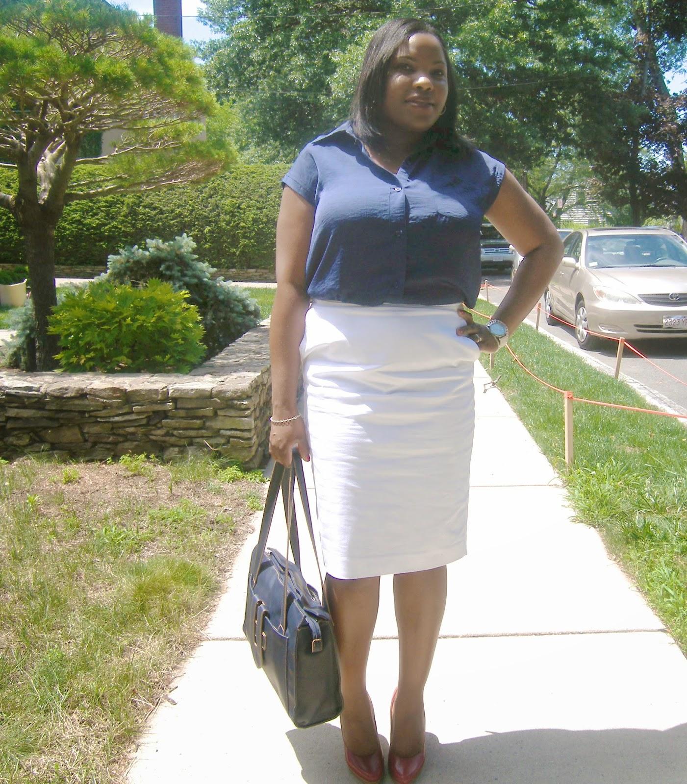 Bar iii top, white pencil skirt