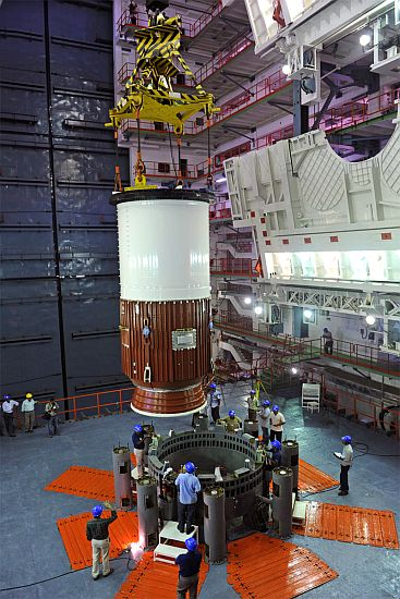 Nozzle end segment of GSLV-D5 first stage being placed on Mobile Launch Pedastal- View 2