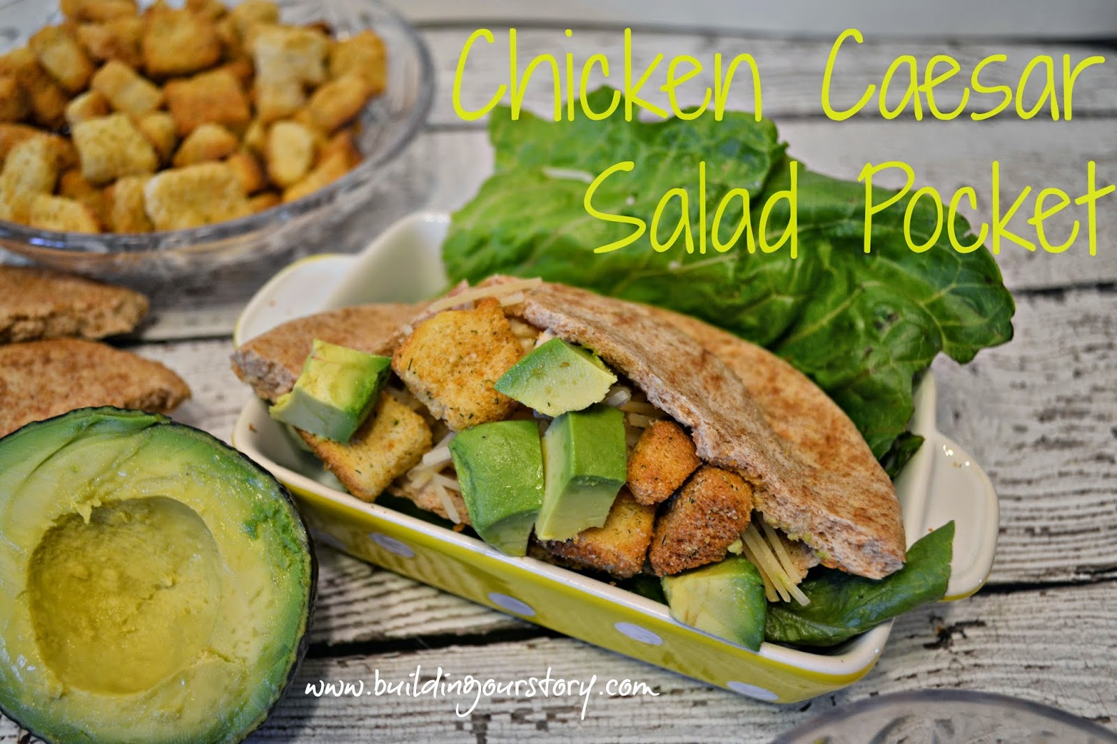 Chicken Caesar Salad Pocket #Recipe.  Crock Pot Chicken Caesar Salad Recipe