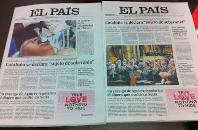 Falsa imagen de Hugo Chávez en la portada de El País
