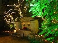 クリスマスイルミネーションの中、キャンドルナイトの灯りが印象的