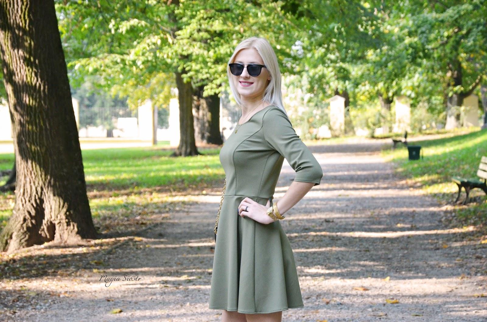 stylizacja na jesień, modna stylizacja, sukienka rozkloszowana, sukienki na wesele na jesień