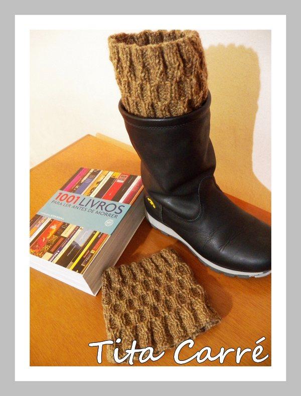 Boots cuffs em ponto Elo em tricot e os 1001 livros para ler antes de morrer
