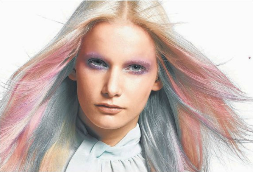 Blushing beauty: Goldwell's Beautify looks include this one, which bravely blends soft-pink shades with blonde and mint-blue hue.
