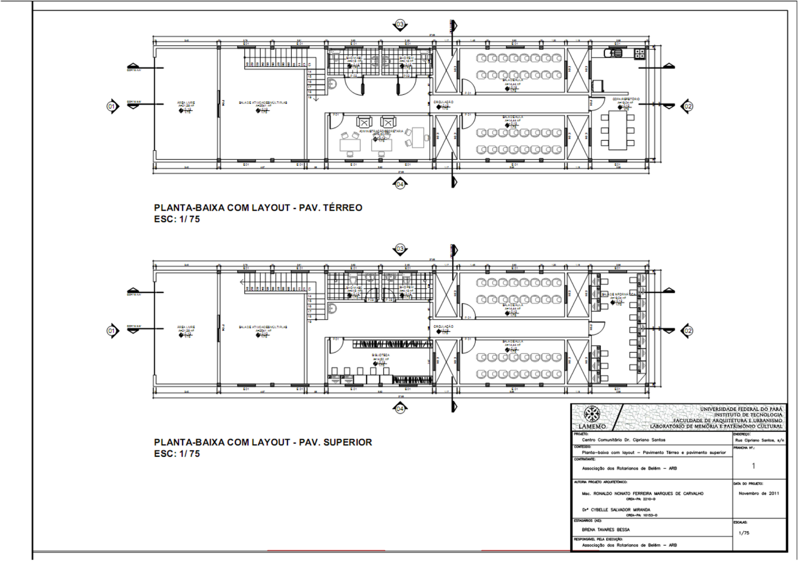 Planta baixa do térreo com o layout – Centro Comunitário Dr  #64594D 1600 1125