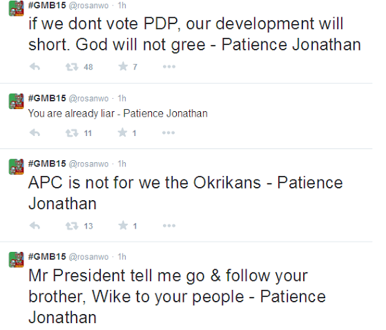 See what Patience Jonathan said at PDP Rally in Rivers State