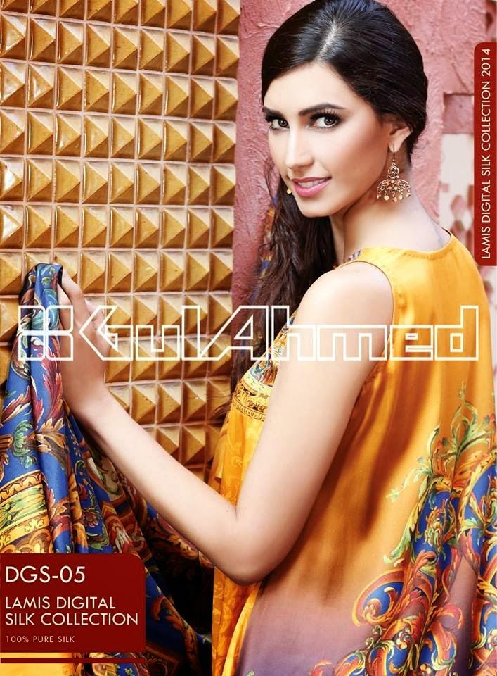 GulAhmedLamisDigitalSilkCollection2014 wwwfashionhuntworldblogspotcom 03 - Gul Ahmed Lamis Digital Silk Collection 2014