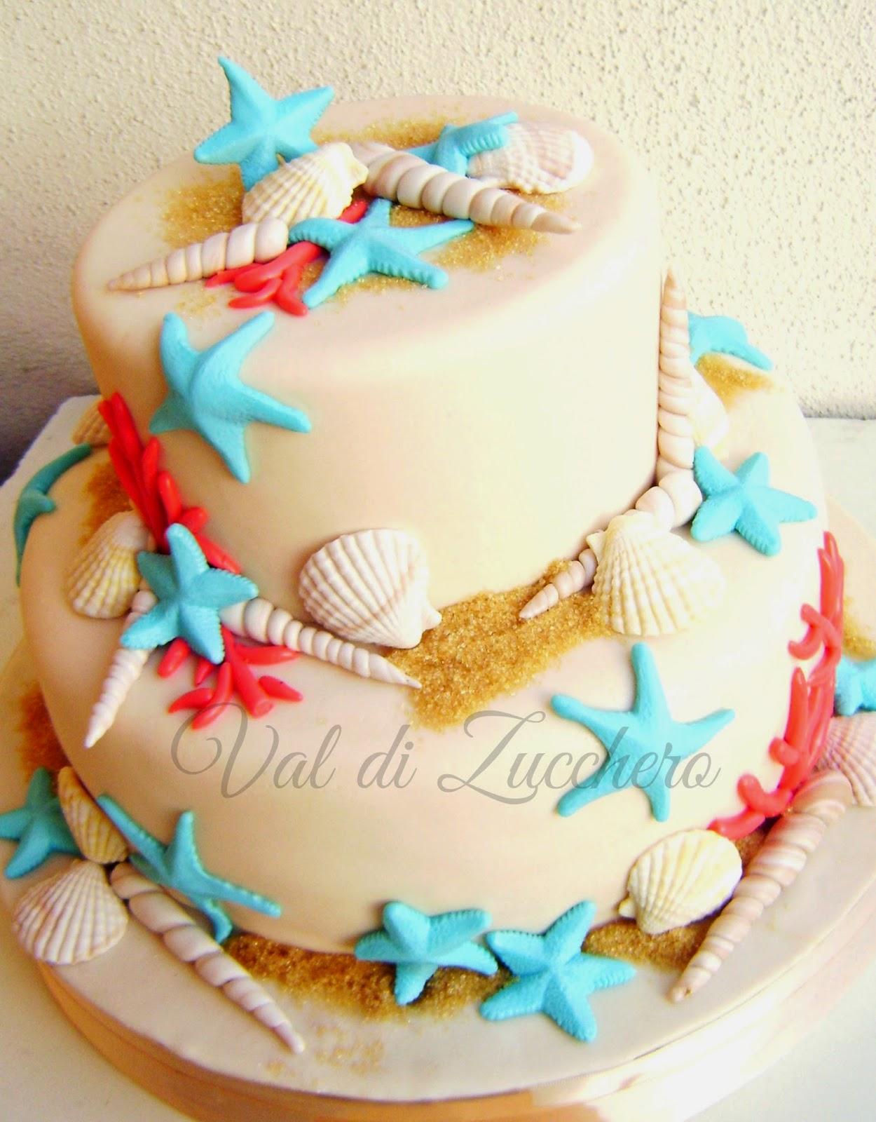 Val di zucchero torta mare for Decorazioni torte tema mare