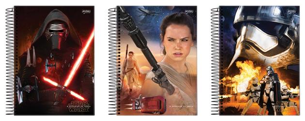 Cadernos da linha Star Wars da marca Jandaia